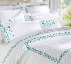 The Liza embroidered collection //  Pottery Barn - different color and monogramming options and super affordable! #PotteryBarn