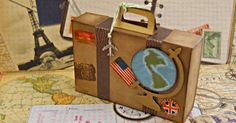 """¡Que me gusta a mí un tema viajes!   Todo lo que tenga que ver con """"Travel theme"""" me requetencanta. Estoy obsesionada con los sellos de viaj... Diy Paper, Paper Crafts, Wedding Icon, Wedding Ideas, Scrapbook Albums, Scrapbooking, Travel Themes, Design Crafts, Mini Albums"""