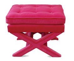 vintage hot pink velvet x-bench