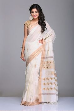 Ivory Village Cotton Saree With Beige Border With Gold Zari Stripes And Beige & Maroon Floral Motifs On Pallu