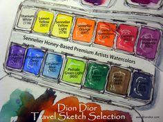 Dion Dior: Travel Watercolor Paint Box. Sennelier Watercolors in a Schmincke Tin. (Visit www.diondior.com for details.) xx