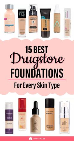 15 Best Drugstore Foundations For Every Skin Type: Drugstore formulas are affordable and give amazing results. Whether you are looking for a foundation to cover imperfections, disguise redness, or a shade that actually matches your skin, we've got it all. Read on to find the best drugstore foundation that matches all your skin's needs. #Foundation #Makeup #MakeupIdeas #MakeupTips Best Drugstore Makeup, Drugstore Makeup Dupes, Beauty Dupes, Beauty Hacks, Best Drugstore Foundation, Makeup Tips Foundation, How To Use Foundation, High End Makeup, Skin Makeup
