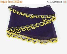 SALE 20% Purple Scarf, Cotton cowl with crochet Oya Lace edges , Womens foulard , Cotton bandana, Summer Scarflette