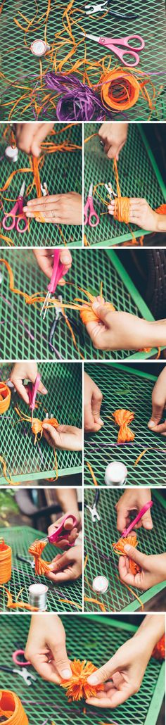 DIY Raffia pom pom flip flops and sun hat Fun Diy Projects For Home, Diy For Kids, Crafts For Kids, Craft Projects, Sewing Projects, Craft Ideas, Nursing Home Crafts, Crochet Pillow Patterns Free, Tulle Poms