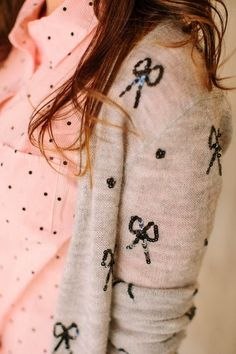 Sequins Cardigan With Polka Dots Pink Shirt