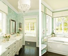 bathroom: carerra marble counter tops, white cabinetry, mahogany floors and mint green damask wallpaper. Gorgeous!