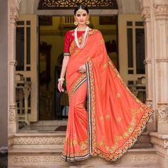Indian Bridal Wedding Heavy Hand Work Pure Silk Sari