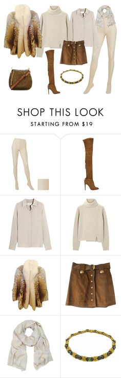 """FW - DN - SUEDE SKIRT, SILK BLOUSE, SWEATER, SCARF, LYNX COAT - WHEAT & TOBACCO"" by laliquemurano on Polyvore featuring Uniqlo, Aquazzura, Maison Margiela, Proenza Schouler, Gucci, Mulberry, Vacheron Constantin and Chloé"