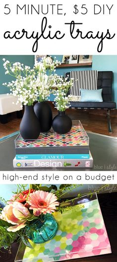 Acrylic trays are HOT right now, but they are also expensive! Learn the simple trick to create your own DIY version for less than $5 and in less than 5 minutes. And best of all, you can update the style any time you want!