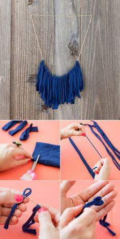 DIY: T shirt flirty fringe Necklace by Brit + Co via Maiko Nagao blog