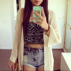 Crop top, high waisted shorts and cardigan are all adorable and a perfect combination!