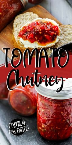 This tomato chutney recipe is one of my favorite ways to preserve an abundant tomato crop from the vegetable garden. It's sweet & tangy & full of flavor. Relish Recipes, Jelly Recipes, Chutney Recipes, Jam Recipes, Veggie Recipes, Indian Food Recipes, Real Food Recipes, Healthy Recipes, Tomato Canning Recipes