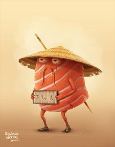 the mexican burrito vs sushi by Aleksey Baydakov, via Behance Illustration Kawaii, Character Illustration, Graphic Illustration, L'art Du Sushi, Sushi Drawing, Character Design Cartoon, Chocolate Sculptures, Sushi Design, Graffiti