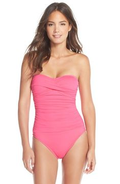 La+Blanca+Twist+Front+Bandeau+One-Piece+Swimsuit+available+at+#Nordstrom