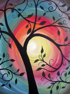 Swirling tree branches over color swirled sunset, beginner painting idea, wine paint party Wine And Canvas, Paint Party, Art Plastique, Tree Art, Tree Of Life Artwork, Oeuvre D'art, Painting Inspiration, Diy Art, Painting & Drawing