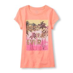 s Short Sleeve 'Best Day Ever' Beach Glitter Graphic Tee - Orange T-Shirt - The Children's Place