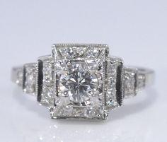 Vintage 14K White Gold Art Deco Diamond Engagement by Ringtique, $1350.00