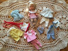 Vintage 1980's Barbie Heart Family Baby Toddler Doll w/ Clothes 12 Pieces Lot