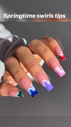 Bling Acrylic Nails, Acrylic Nails Coffin Short, Simple Acrylic Nails, Square Acrylic Nails, Cute Acrylic Nail Designs, Bright Summer Acrylic Nails, Pastel Nails, Designs On Nails, Unique Nail Designs