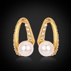Pearl Earrings With Platinum/18K Real Gold Plated Colorful Rhinestone Stud Earrings For Women Gift