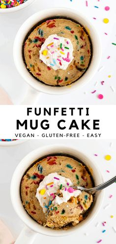 This funfetti mug cake (vegan & gluten-free) is an easy single serving dessert that's made in 5 minutes! It's fluffy, moist, sweet, and reminiscent of vanilla birthday cake. Made with oat flour, sprinkles, plant-based milk, cashew butter, and frosting on top. No egg and no dairy needed! #mugcake #funfetti #birthdaycake #vegan #cakebatter #cakeinamug #funfetticake #glutenfree #microwavecake #singleserving