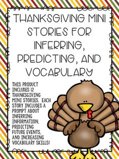 This product includes 12 seasonal mini stories. Each story includes one inferring prompt, one predicting prompt, and one vocabulary question.