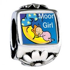 Moon Girl Photo Flower Charms  Fit pandora,trollbeads,chamilia,biagi,soufeel and any customized bracelet/necklaces. #Jewelry #Fashion #Silver# handcraft #DIY #Accessory