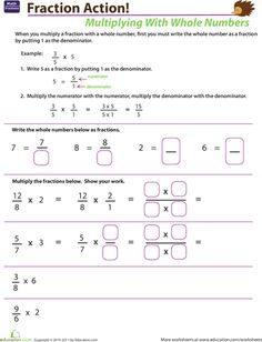 Multiply Mixed Numbers with Fractions | Worksheets, Number and Math