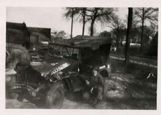 WW2 American GI with Wrecked Jeep, Mons, Belguim 1945