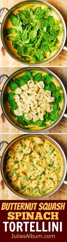 Butternut Squash and Spinach Tortellini - easy, weeknight dinner ready in just 30 minutes! Butternut Squash and Spinach Tortellini - easy, weeknight dinner ready in just 30 minutes! Veggie Recipes, Pasta Recipes, Vegetarian Recipes, Cooking Recipes, Healthy Recipes, Chicken Recipes, Recipes Dinner, Vegetarian Lunch, Sausage Recipes
