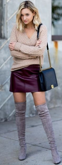 #fall #trending #outfits | Knit + Leather + Suede
