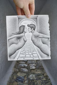 """When divided walls become alive. When the impossible becomes possible. I took the photo and also made the sketch on paper. I used a different drawing technique for this work (scribbles instead of lines).    Please, see the whole """"Pencil Vs Camera"""" album"""