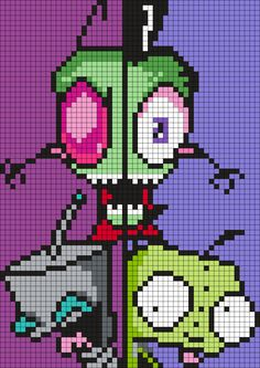 Invader Zim And Gir Poster Perler Bead Pattern by Melissa Pious