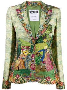Green/multicolour garden print blazer from MOSCHINO featuring notched lapels, front button fastening, long sleeves, buttoned cuffs, two front flap pockets, straight hem, full lining and all-over garden print. Printed Blazer, World Of Fashion, Blazer Jacket, Moschino, Women Wear, Lapels, Exotic Flowers, Boho, Front Button