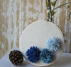 Embroidery Hoop Floppy Pompom Wall Art Ocean by Butterflyalley, $16.00
