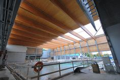 The renovation of the Wayne Gretzky Sports Centre, designed by CS+P Architects, will incorporate cross-laminated timber beams into the structure's roofing assembly. Photo © Sarah Hicks/Ontario Wood Works