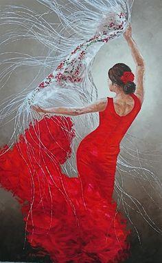 Dance Pictures, Art Pictures, Art Images, Spanish Dancer, Dance Paintings, Painting People, Dance Photography, Acrylic Painting Canvas, Portrait Art