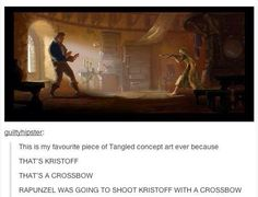 ^^^ THIS. I want a short movie of Eugene teaching Rapunzel to shoot a crossbow now.
