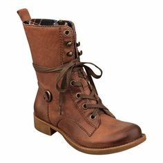 "Utilitarian charm with urban edge.  Round toe lace up boot.  Full side zipper.  Hardware accents and pull tab.  Plaid interior lining.  Leather upper.  Measurements: heel 1 1/4"", shaft 8"" and circumference 11""."