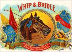Whip & Bridle Horse Vintage Cigar Tobacco Box Crate Inner Label Art Print