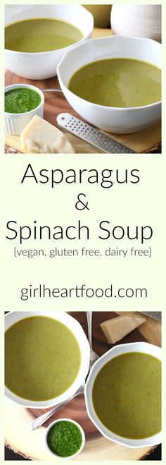 Asparagus & Spinach Soup - an easy, delicious soup that's perfect for a light lunch. #vegan #glutenfree #dairyfree #soup #asparagus #spinach