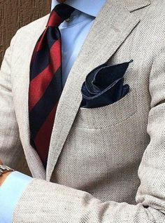 Men's Suit -necktie- pocket square | Raddest Looks On The Internet: http://www.raddestlooks.net