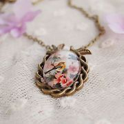 one cute Bird and Flower Photo Glass Cabochon Pendant Adjustable Necklace 50+5cm