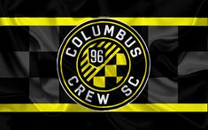 Download wallpapers Columbus Crew SC, FC, American Football Club, MLS, USA, Major League Soccer, emblem, logo, silk flag, Columbus, Ohio, football