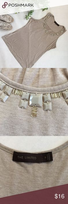 Limited Sleeveless Top Beige with beautiful jewel detailed neckline. Size Small. The Limited Tops Blouses