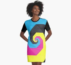 'Abstract Spiral Art Full of Color Blue, Yellow, Pink, Black' Graphic T-Shirt Dress by Fan Art Pink Black, Blue Yellow, Color Blue, Spiral Art, Chiffon Tops, Dresses For Work, Fan Art, Shirt Dress, Abstract