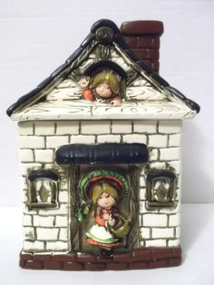 Vintage Old House Cookie Jar House from Japan Canister Storage Container
