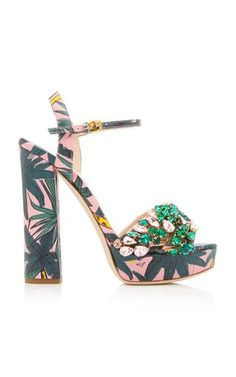 Embellished Palm Print Platform Sandal by Gedebe