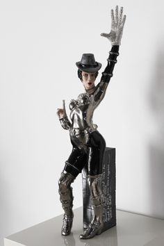 Midge Johansen Who's Bad! - 2014 Ceramic sculpture, glazed with platinum, silver studs and jewelled additions high Best Clips, August 2014, Exhibit, Michael Jackson, Studs, Contemporary Art, Australia, Sculpture, Group