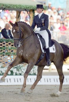 """Two clones of Olympic dressage """"Rusty"""" ridden by Germany's Ulla Salzgeber have been unveiled this week. Ulla Salzgerber and """"Rusty"""" at the 2004 Olympic Games."""